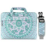 MOSISO Laptop Shoulder Bag Compatible 14-15.6 Inch MacBook Pro with Touch Bar A1990 A1707 2016-2019, Ultrabook Netbook Tablet, Canvas Mandala Pattern Carrying Briefcase Sleeve, Mint Green & Blue