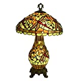 Tiffany Style Desk Lamp - Green and Yellow Stained Glass and Jewelled Dragonfly Design Table Lamp 16 Inch Bedside Light for Bedroom - Living Room - E27 E14