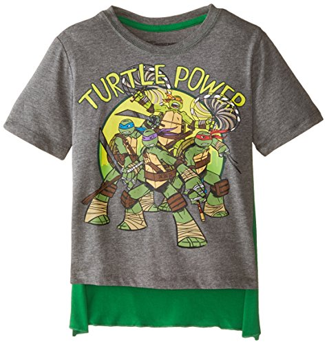 Nickelodeon Little Boys' Teenage Mutant Ninja Turtles Turtle Power Short Sleeve Cape T-Shirt, Grey/Green, 5/6 ()