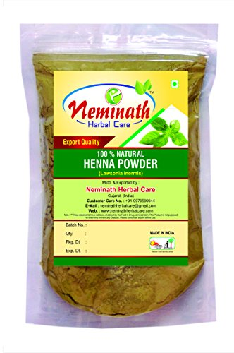 Natural Henna Leaves (LAWSONIA INERMIS) Powder for COVERING GRAY HAIRS NATURALLY by Neminath Herbal Care (100 Grams)