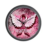 CafePress – Pink Ribbon Warrior by Vetro Designs – Unique Decorative 10″ Wall Clock For Sale