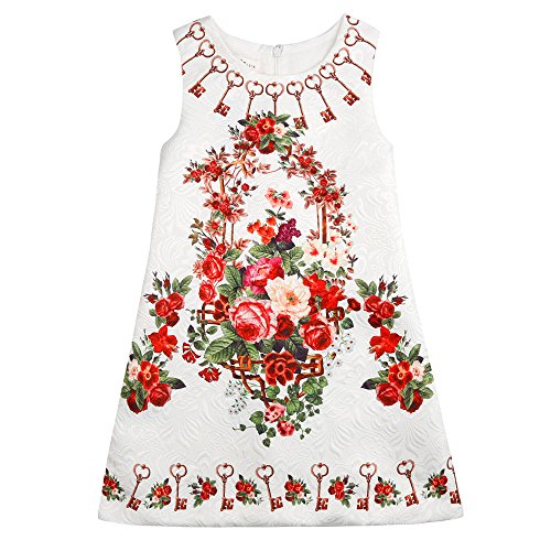 Sanlutoz Summer Baby Girls Dress Vintage Print Children Sleeveless Kids Dresses (9-10) (Kids Christmas Dress)