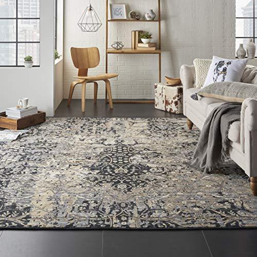 - Nourison MST01 Majestic Charcoal Grey Vintage Area Rug 9'6
