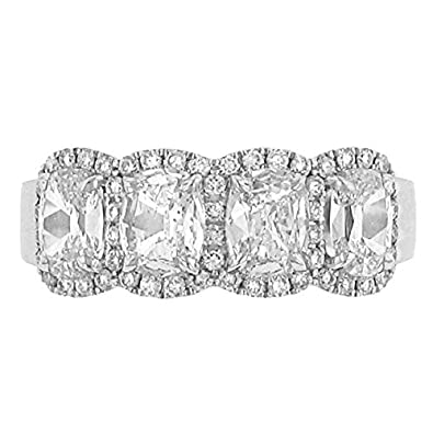 Amazon Com Henri Daussi 4 Stone Cushion Halo Design Diamond Band