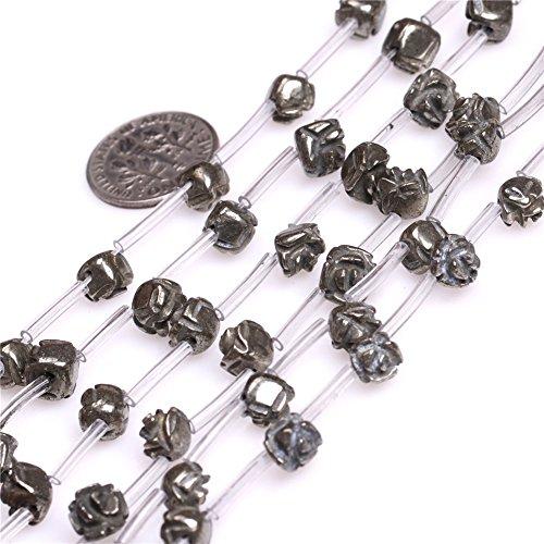 (JOE FOREMAN 7-8mm Pyrite Semi Precious Stone Flower Shape Silver Gray Loose Beads for Jewelry Making DIY Handmade Craft Supplies 15