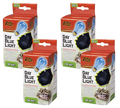 (Zilla 4 Pack of Day Blue Incandescent Bulbs, 50 Watts, Reptile Heat Lamp Bulbs)