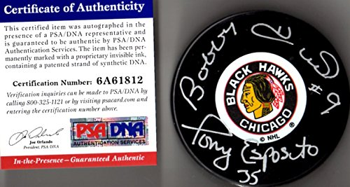 - PSA/DNA Bobby Hull & Tony Esposito Autographed Signed Chicago Blackhawks Original Six Logo Puck