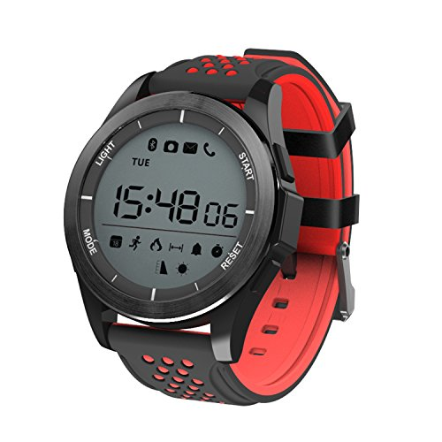 Easyfone Outdoor Sport Smart Watch, F3 Professional Waterproof Bluetooth Sport Smartwatch with Android and iOS Smartphones (Black+Red)