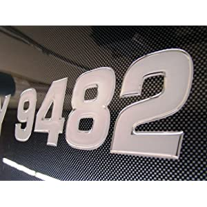 Boat & Jetski Registration Numbers - Domed/Raised Decal (16 pcs) Stainless Center/Chrome Outline (Wake Series)