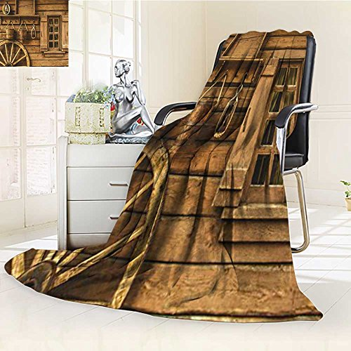 AmaPark Digital Printing Blanket Western Wagon Wheel Window and Buckets Brown Summer Quilt Comforter