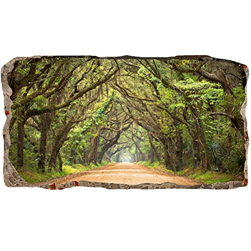 (Startonight 3D Mural Wall Art Photo Decor Window Green Tunnel Tree Amazing Dual View Surprise Large Wall Mural Wallpaper for Living Room or Bedroom Nature 120 x 220 cm)
