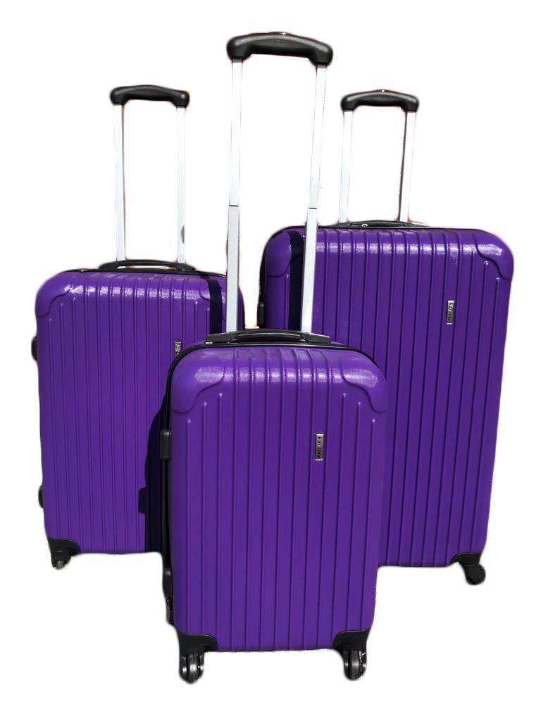 Ice Canada 3-Piece Set Spinner Luggage Suitcase Travel (Purple)