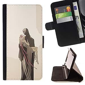 BullDog Case - FOR/Apple Iphone 5 / 5S / - / LOVE DEATH MONSTER BLONDE BEIGE /- Monedero de cuero de la PU Llevar cubierta de la caja con el ID Credit Card Slots Flip funda de cuer