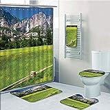Bathroom 5 Piece Set shower curtain 3d print Customized,Yosemite,The Falls in Yosemite National Park California USA Countryside Landmark Picture,Green Blue,Bath Mat,Bathroom Carpet Rug,Non-Slip,Bath T