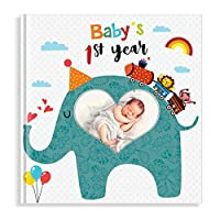 PartyKindom First Year Baby Memory Book with Photo Insert, Best Baby Journal Book for Baby Shower Gifts & Keepsake - 96 Pages
