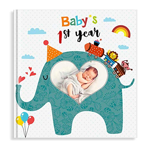 (PartyKindom First Year Baby Memory Book with Photo Insert, Best Baby Journal Book for Baby Shower Gifts & Keepsake - 96 Pages)