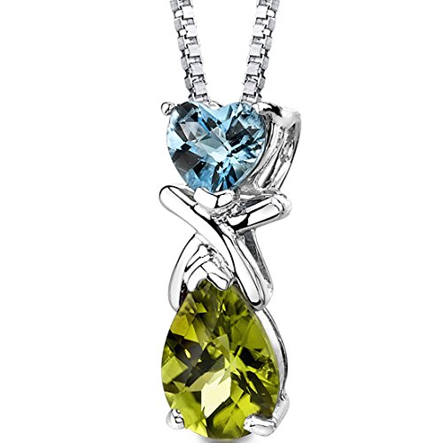 (Swiss Blue Topaz and Peridot Pendant Necklace Sterling Silver 3.00 Carats)