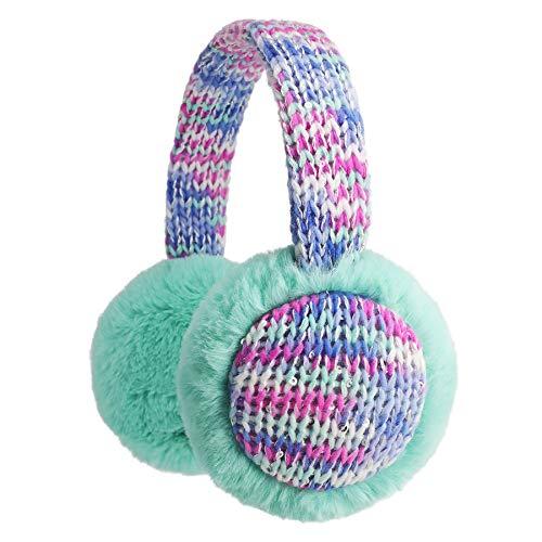 Flammi Kids Knit Earmuffs Winter Outdoor Furry Ear Warmers (Aqua/silver metallic yarn) (Kids Girls Ear Muffs)