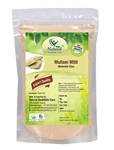 100% Pure Natural Processed Fuller's Earth Clay (Multani Mitti) Bentonite Clay For Face Mask (100 gm (0.22 lb) 3.5 ounces)