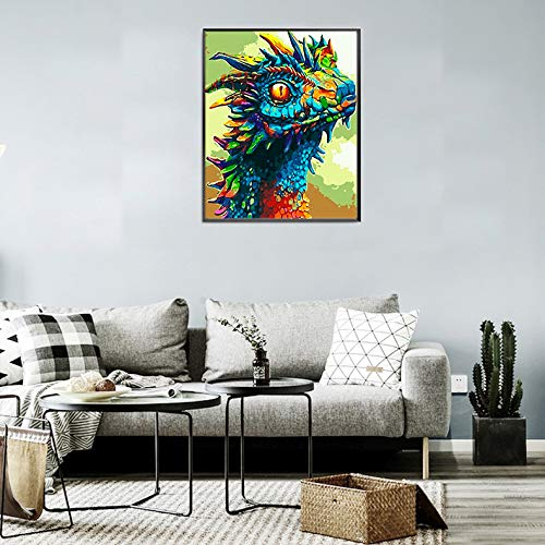 16x20 Inches Lapoea DIY Oil Painting Paint by Number Kits Painting for Adults and Kids Arts Craft for Home Wall Colorful Dragon