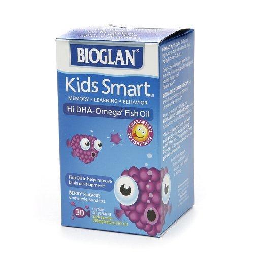 BioGlan Kids Smart Hi DHA Omega-3 Fish Oil, Chewable Burstlets, BerryÃ'30 ea by Bioglan