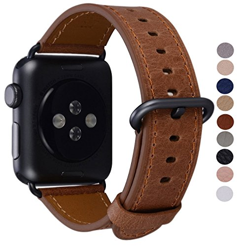 PEAK ZHANG Compatible Iwatch Band 38mm, Women Caramel Vintage Leather Replacement Strap with Black/Space Grey Adapter and Buckle Compatible Iwatch Series 3 2 1 Sport Edition(Brown) - Buckle Leather Band