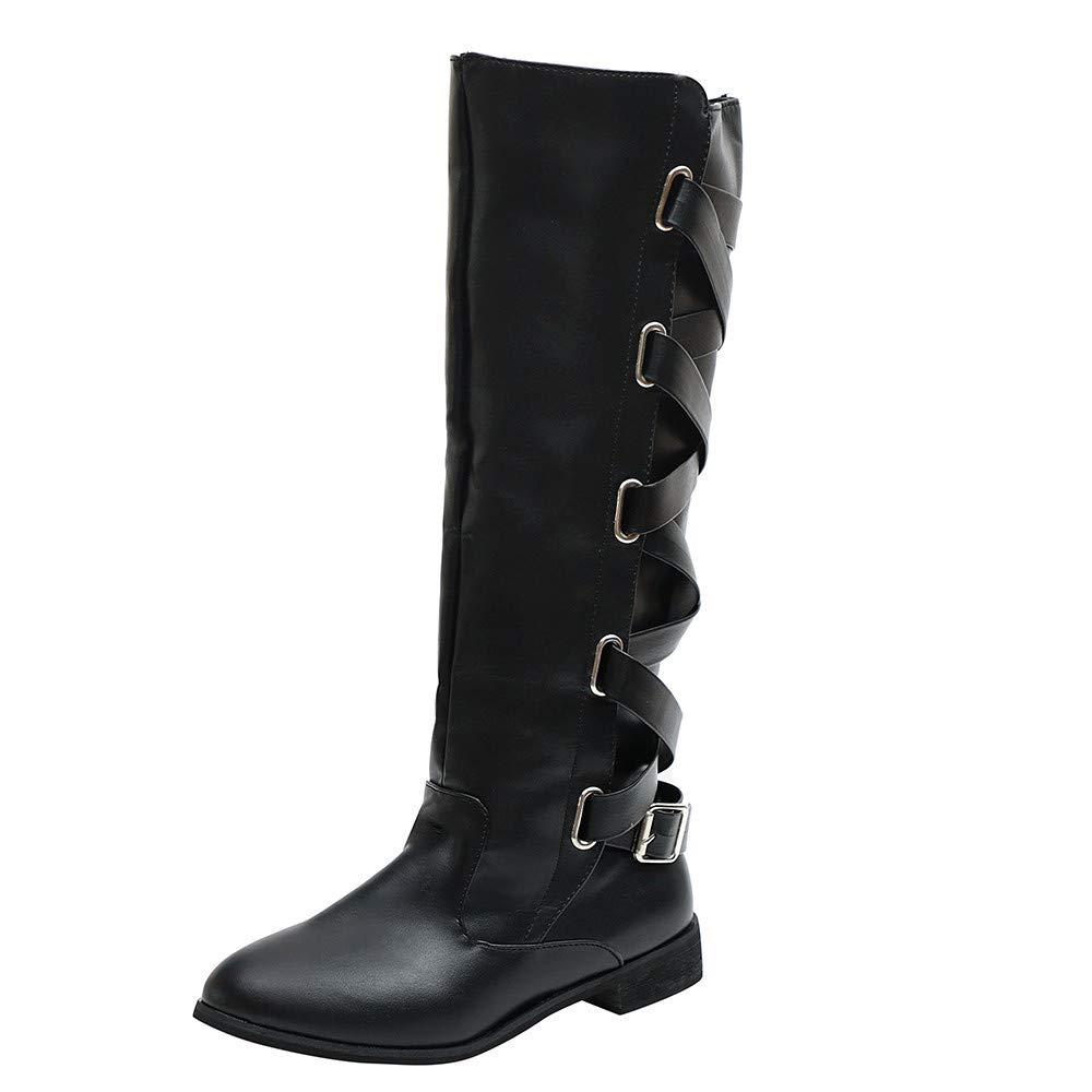 Botas Alto Mujeres, LANSKIRT Zapatos de Mujer Correa de Hebilla Cremallera Lateral Botas Altas hasta la Rodilla Martin Botas Largas Forro de Las Vellosidades