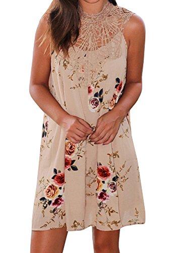 Women Sleeveless Lace Chiffon Dresses (Khaki) - 5