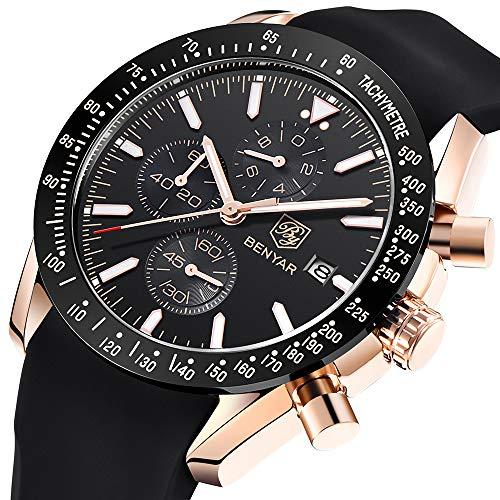 BENYAR Mens Watches Waterproof Chronograph Analog Quartz Watch Men Luxury Brand Business Wristwatch with Silicone Strap
