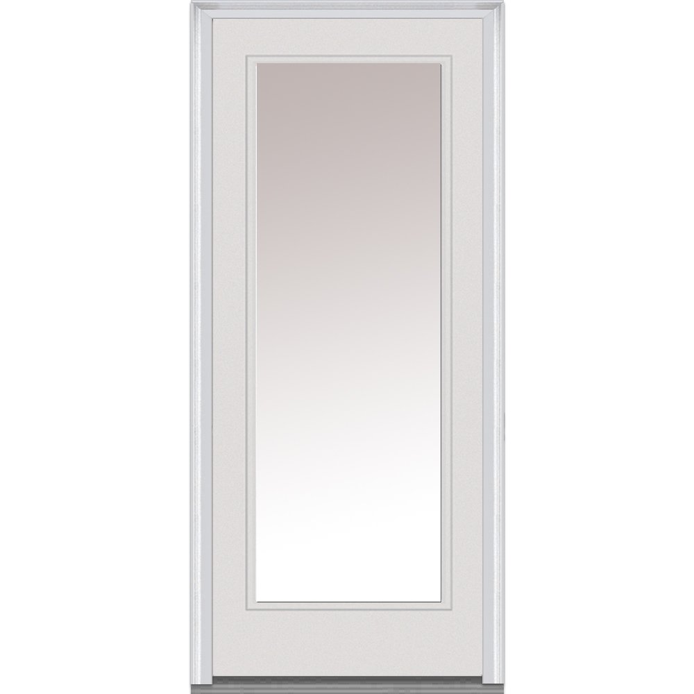 National Door Company Z000783R Steel, Primed, Right Hand In-Swing, Exterior Prehung Door, Full Lite, 36''x80''
