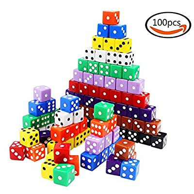 Cubic Dice 6-Sided White Pips Black Dots Standard 16mm 100pcs multi-color Regular Dice Right Corner for Board Games Activity and Party with Dice Bag