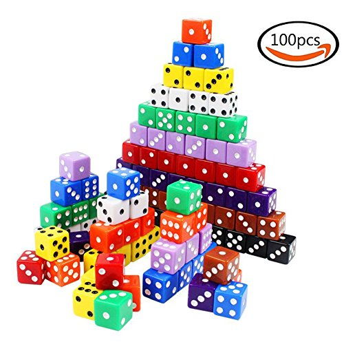 Cubic Dice 6-Sided White Pips Black Dots Standard 16mm 100pcs multi-color Regular Dice Right Corner for Board Games Activity and Party with Dice Bag by OSOPOLA