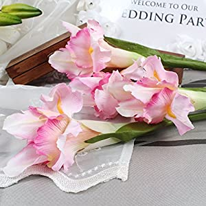 Roossys 3Pcs Pink Iris Artificial Flowers Home Decoration Party Supplies Bouquet Real Touch Flowers Home Wedding Decorative Flowers Wedding Decoration Weddings Artificial Decorations Real Touch 75