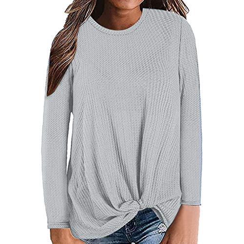 QueenMMWomens Waffle Knit Tunic Blouse Tie Knot Henley Tops Loose Fitting Bat Wing Plain Shirts Thermal Tops Gray