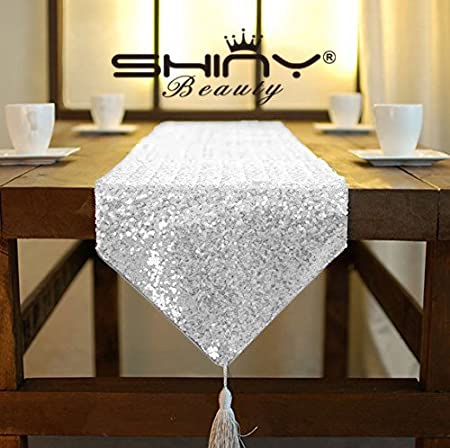 ShinyBeauty Shimmer Silver  Sequin Table Runner Tassel 30x180cm, Glitter  Round Sequins Fabric For