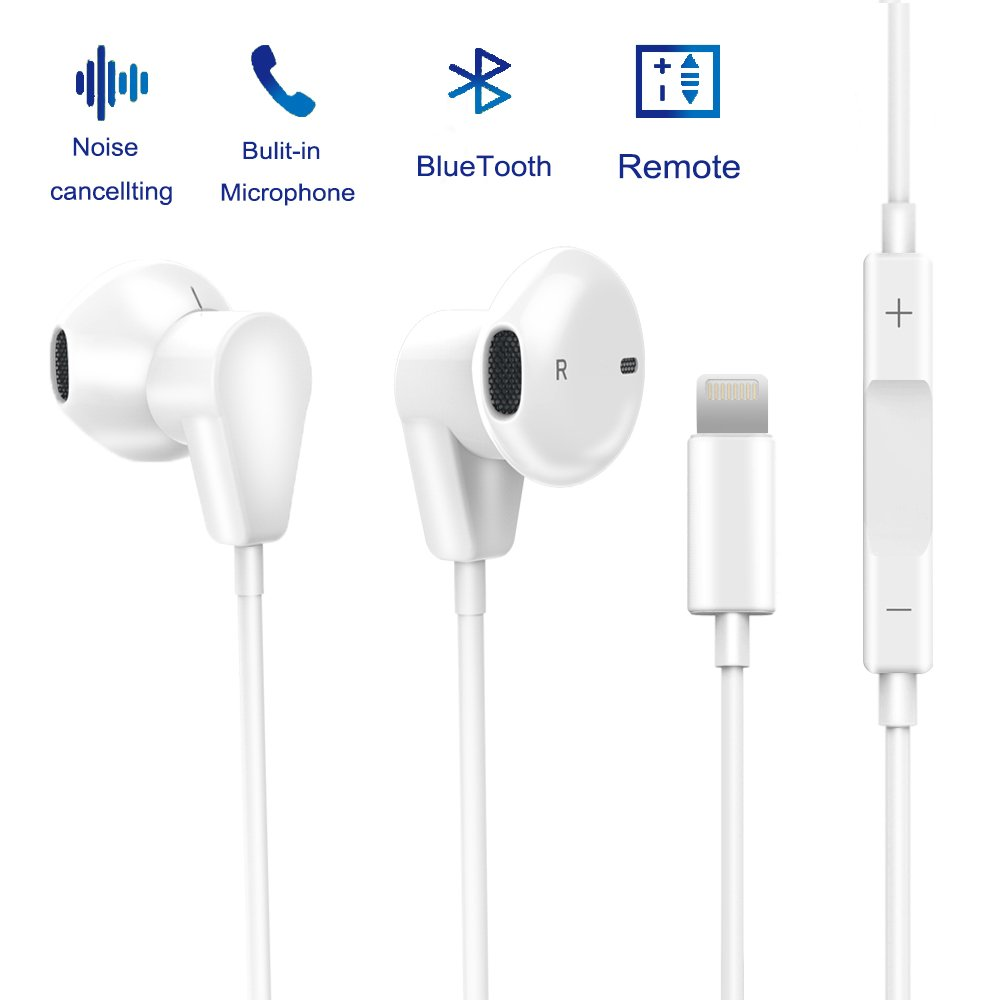 IPhone 7 Earphones, Lightning Headphones Bluetooth Earbuds Fourcase Stereo Headset Noise Cancelling with Microphone and Remote Control for iPhone X 8/8Plus,iPhone 7/7Plus