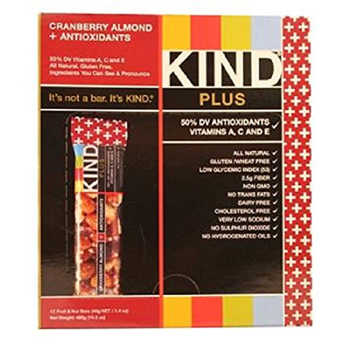 Product Of Kind Plus, Cranberry Almond & Antioxidants, Count 12 (1.4 oz) - Nutrition Bar With Protein / Grab Varieties & Flavors - Kind Plus Cranberry Almond