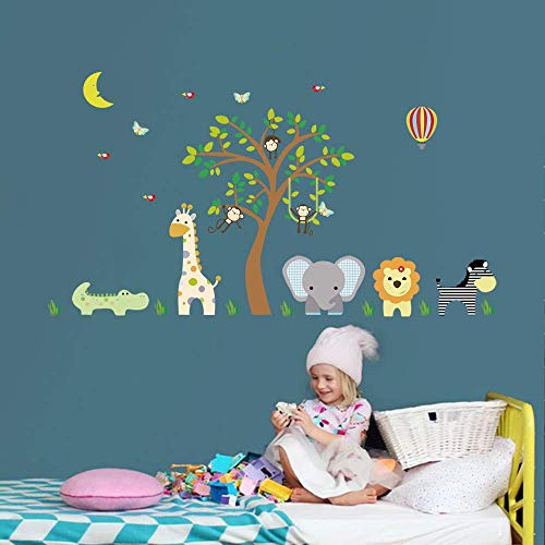 (ufengke Jungle Animals Wall Stickers Elephant Giraffe Vinyl Wall Art Decals Wall Decor for Children Bedroom Nursery)