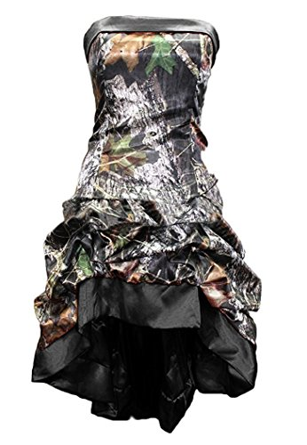 - Snowskite Womens Strapless Short High Low Camo Cocktail Party Prom Dress Black 20