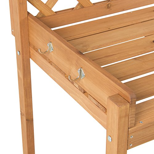 Best Choice Products Potting Bench Outdoor Garden Work Bench Station Planting Solid Wood Construction
