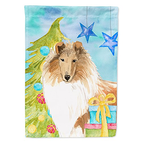 Caroline's Treasures CK1867CHF Christmas Tree Rough Collie Flag Canvas House Size, Large, -