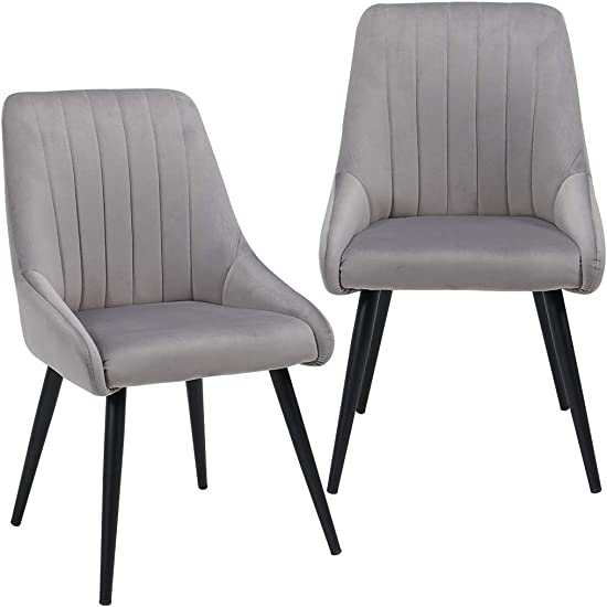 Duhome Accent Chairs Set of 2 for Living Room, Modern Side Chair Guest Chair Velvet Fabric Ergonomic Padded Seat Armrest with Metal Legs Indoor Coffee Shop Grey