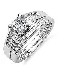Decorative 925 Sterling Silver Round & Princess Cut White CZ Diamond Engagement Wedding Bridal Ring Set