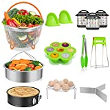 TAIKER Accessories for Instant Pot Pressure Cooker Accessories for 6 qt,8 qt,with 2 Steamer Basket, Egg Rack, Non-stick Spring form Pan, Egg Bites Mold, 3 Magnetic Cheat Sheets,Oven Mitt