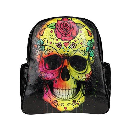 Custom-Sugar-Skull-Painting-Art-PU-Leather-Student-School-Bag-Multi-pocket-Backpack