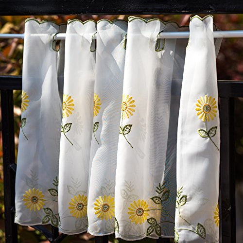 - WEMAY Panel Embroidery Pastoral Style Cafe Curtain Kitchen Curtain Floral Window Valance,W58 XL18 inch (Yellow Daisy)