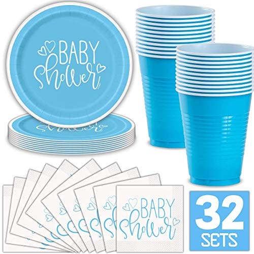 Boy Baby Shower Party Supplies for 32 Guests (Blue) Includes: Paper Plates, Luncheon Napkins, 16 oz Cups, Classy and Stylish Light Blue Design Baby Shower Paper Luncheon Napkins