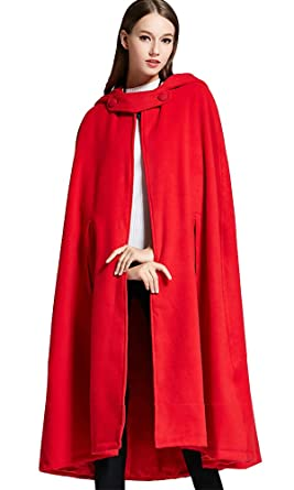 3ba157a5e58 Sheicon Women Batwing Cape Wool Poncho Jacket Warm Cloak Coat with Hood  Color Red Size One