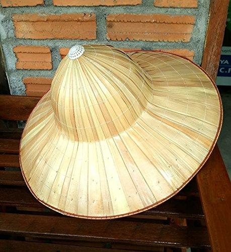 Hand Woven Palm / Bamboo Thai Handmade Farmer Hat(Free Gift Mulberry Paper Key chain Handmade)