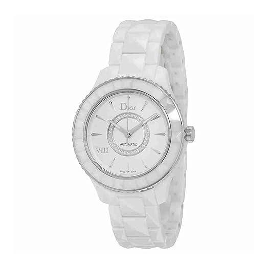 ef53e7ee75c3 Christian Dior VIII automático de cerámica blanca y de acero inoxidable  reloj de pulsera para mujer CD1245E3C002  Amazon.es  Relojes